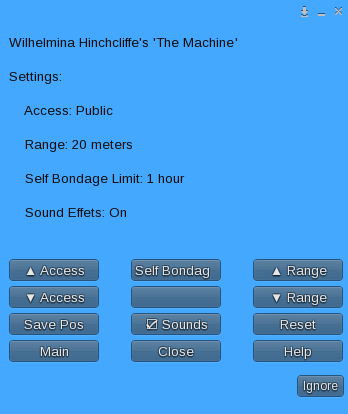 The Machine - Settings Menu