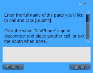 RLVPhone Enter Party Name