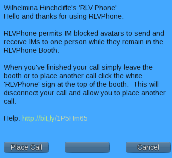 RLVPhone Welcome Menu